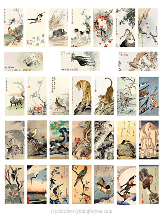 """vintage birds animals japanese watercolor art domino collage sheet 1"""" x 2"""" inch clipart digital download graphics images printables pendants"""