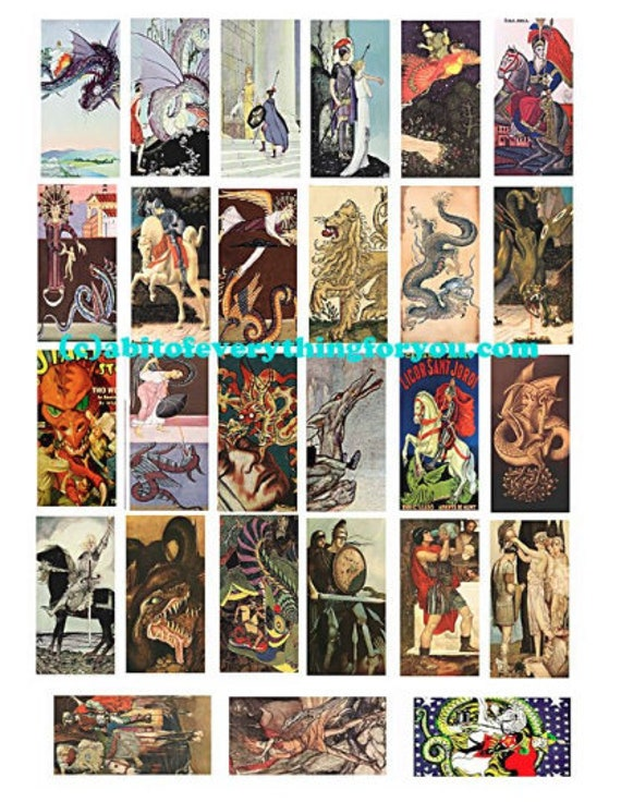 """dragons paintings drawings vintage art domino collage sheet 1"""" x 2"""" images clip art digital download domino graphics medieval images"""