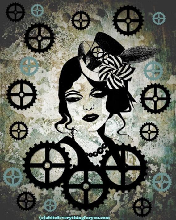 steampunk hat lady art printable downloadable image top hat machine gears grunge womans face modern art digital prints home decor