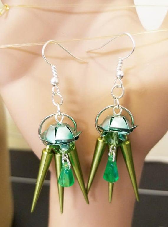 handmade earrings green flower bead drop dangles spike charms jewelry