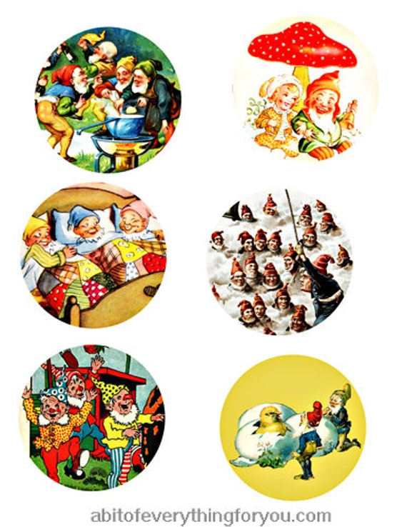 vintage elf gnome dwarf clip art digital download collage sheet 3 inch circles vintage art graphics downloadable images printables