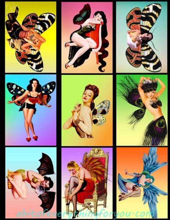 """collage sheet altered art fairy pinup girls fairies digital download 2.5"""" x 3.5"""" graphics downloadable fantasy images printables diy crafts"""