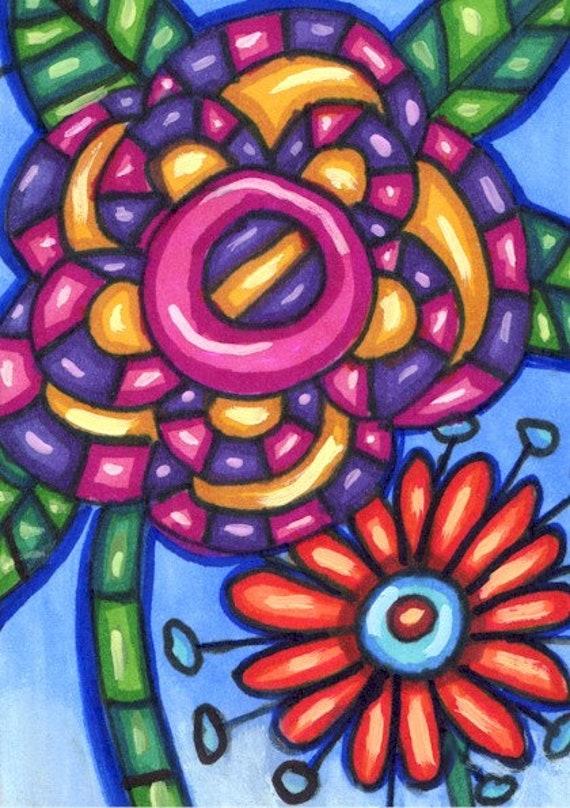 abstract flowers drawing aceo original art atc acrylics whimsical modern miniature artwork