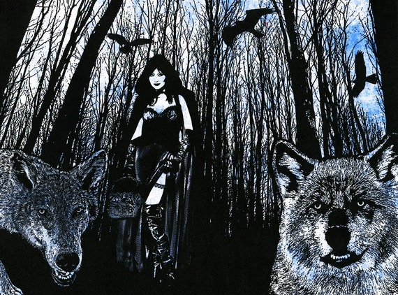 Sexy gothic Red riding hood wolves werewolf original art print digital animals birds trees silhouette sci fi dark fantasy goth artwork
