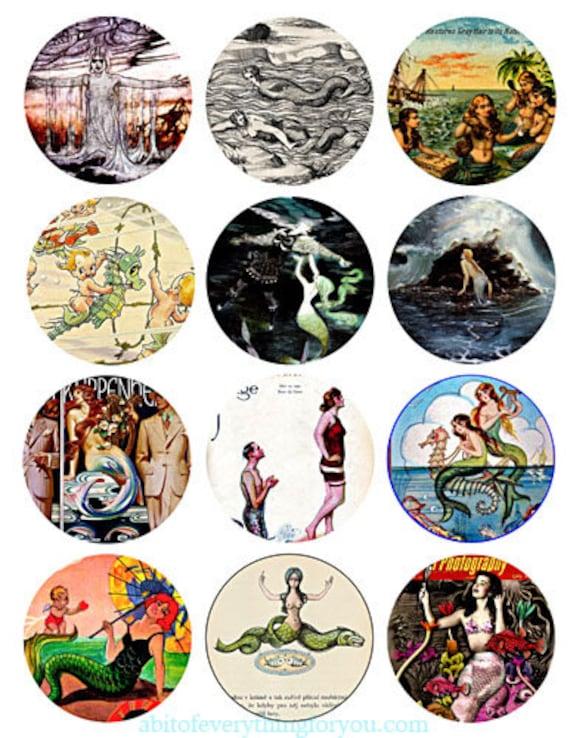 download collage sheet sea nymphs mermaids sirens vintage art clipart digital 2.5 inch circle images craft pendant pins magnet printable