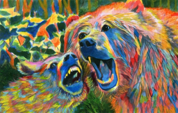 mama Grizzly Bear and Cub Abstract original small painting acrylics animals nature wildlife artwork home decor gifts