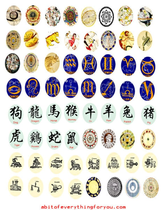 zodiac signs birth symbols 18mm x 25mm ovals collage sheet clipart digital download graphics downloadable images craft printables pendants