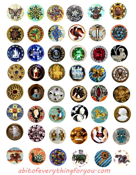 vintage antique jewelry collage sheet 1 inch circles clipart digital downloadable printable images bottlecaps pendants diy