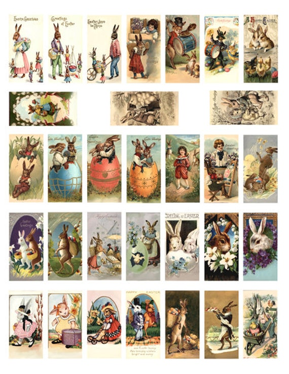 """easter vintage postcard rabbit bunny baby chicks clipart domino collage sheet 1"""" x 2"""" inch graphics images digital download printable"""
