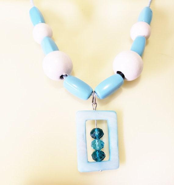 BLUE and white shell wood bead NECKLACE beaded boho handmade nature beach jewelry
