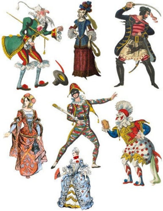 vintage paper theater costume stage performers thespians printable art clipart png instant download digital image fantasy fairytale people
