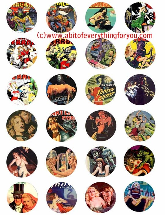 monsters women beauty and beasts  clip art digital download collage sheet 1.5 inch circles vintage graphics images printables