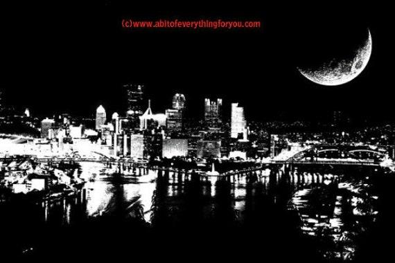 city at night full moon printable art print original abstract art digital download graphics images cityscape black and white artwork