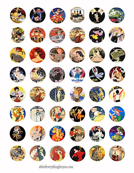 """vintage French product advertisements collage sheet 1"""" inch circles clip art digital downloadadable graphics images craft printables"""