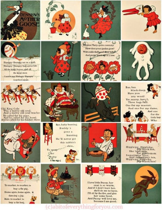 nursery rhymes vintage mother goose clipart digital downloadable collage sheet 2 inch squares childrens book images printables diy jewelry