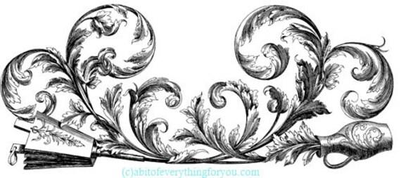 flower vase baroque leaf printable art print border clipart png download digital image vintage graphics digital stamp black and white