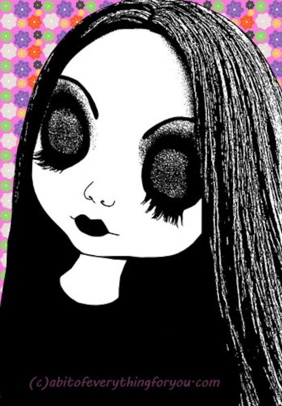 Big eye doll girl printable wall art eyes closed nusery kids room art clipart jpg download digital image graphics downloadable poster print