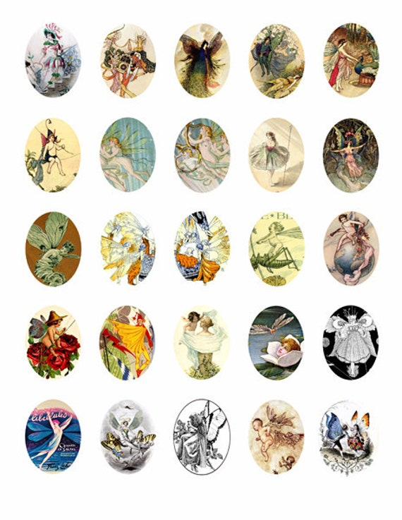 victorian vintage fairy fairies collage sheet 30mmx40mm oval cameos clip art digital downloadable graphics images pendant printables