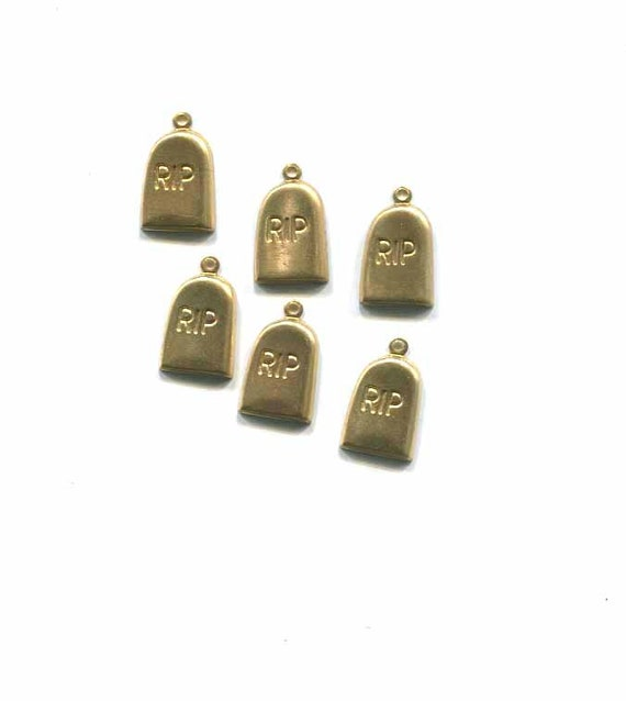 6 vintage gold brass metal grave stone charms 10mm x 15mm goth halloween cemetery charm lot jewelry making