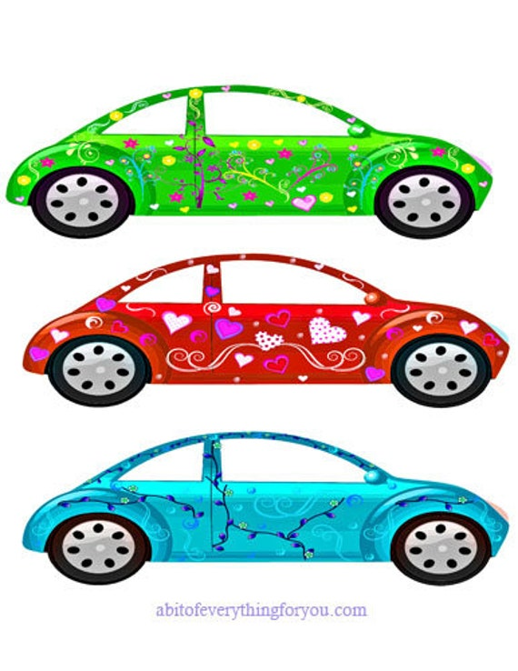 girlie flower cars clipart die cuts craft cut outs clipart digital download automobile floral graphics images printables