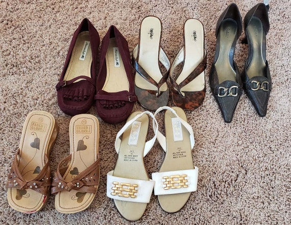 vintage mixed lot of womens shoes high heels and flats assorted sizes styles and colors