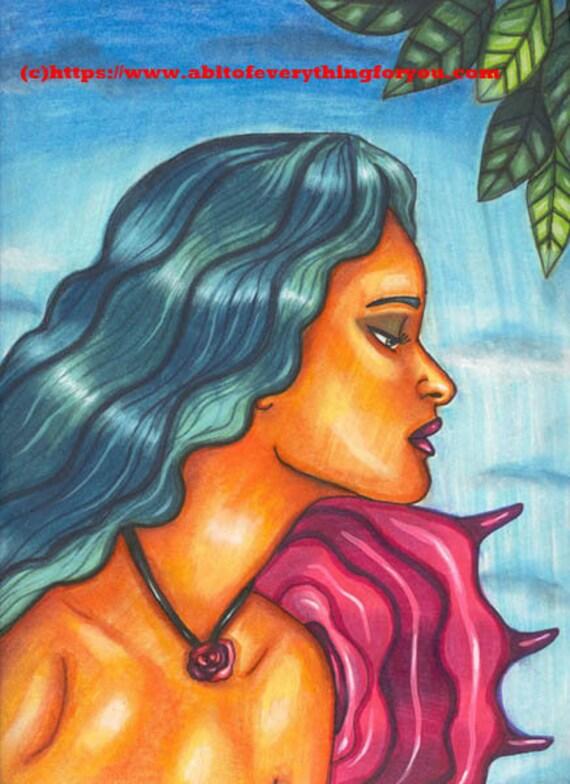 rose fairy art original art print nude woman portrait face modern fantasy nature