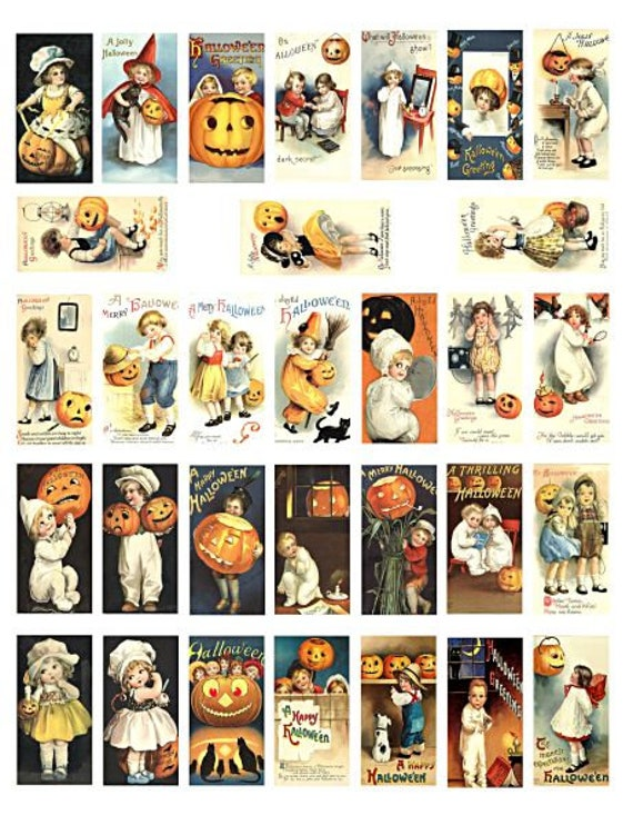 "Vintage Halloween children pumpkins art domino collage sheet 1"" X 2"" inch graphics vintage images digital download printables for pendants"