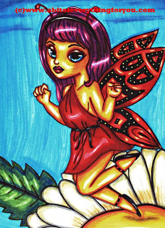 Red Toga butterfly Fairy original art print  party Girl Big Eye daisy flower fantasy artwork