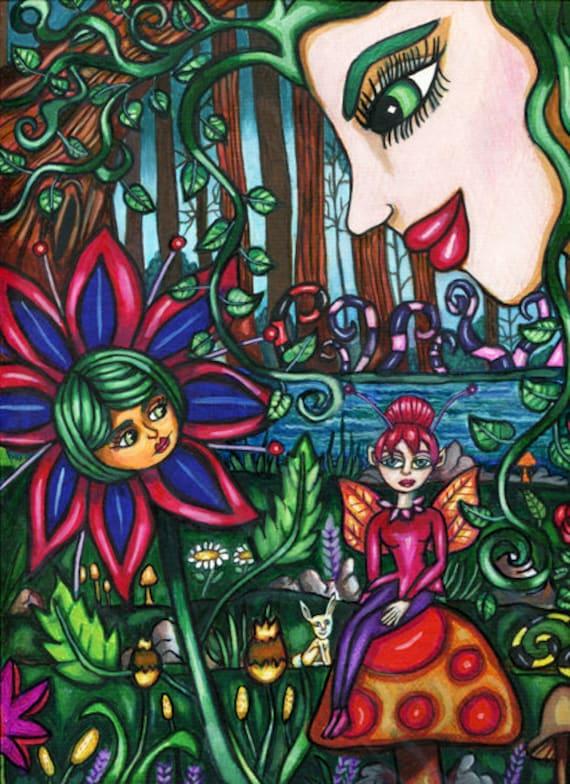 "original fantasy painting secret fae meeting magical garden fairytale art Elizavella 9"" x 12"""