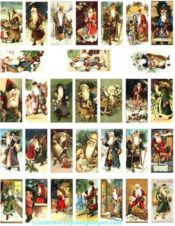 "domino collage sheet vintage old world santa claus christmas art clipart digital download  1"" x 2"" inch graphics st nick images printables"