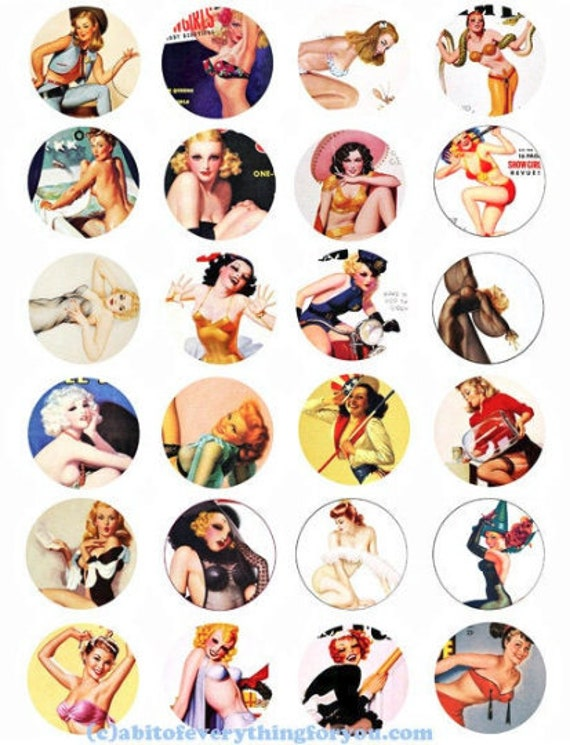 vintage pinup girls sexy women collage sheet faces 1.5 inch circle clip art digital downloadable printable images DIY Crafts Jewelry making
