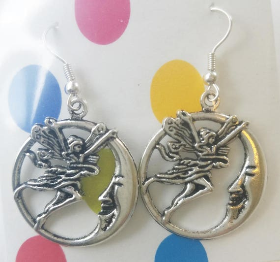 fairy half moon face earrings hoop earrings, silver hoops dangles fairies handmade charm jewelry