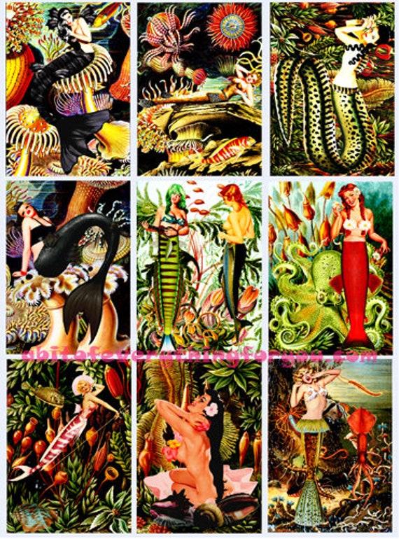 "collage sheet pinup girl mermaids fish art digital download 2.5"" x 3.5"" graphics downloadable fantasy art images printables diy crafts aceos"