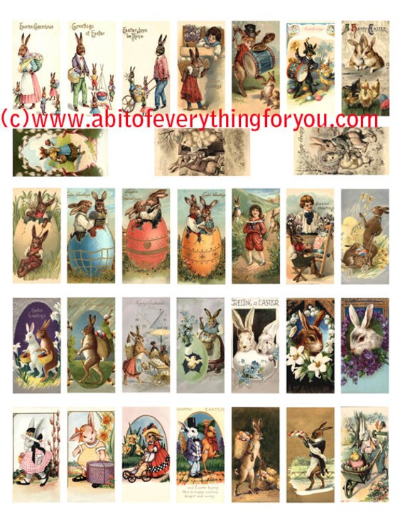 "easter rabbit bunny baby chicks clip art domino collage sheet 1"" x 2"" inch graphics vintage postcard images digital download printable"