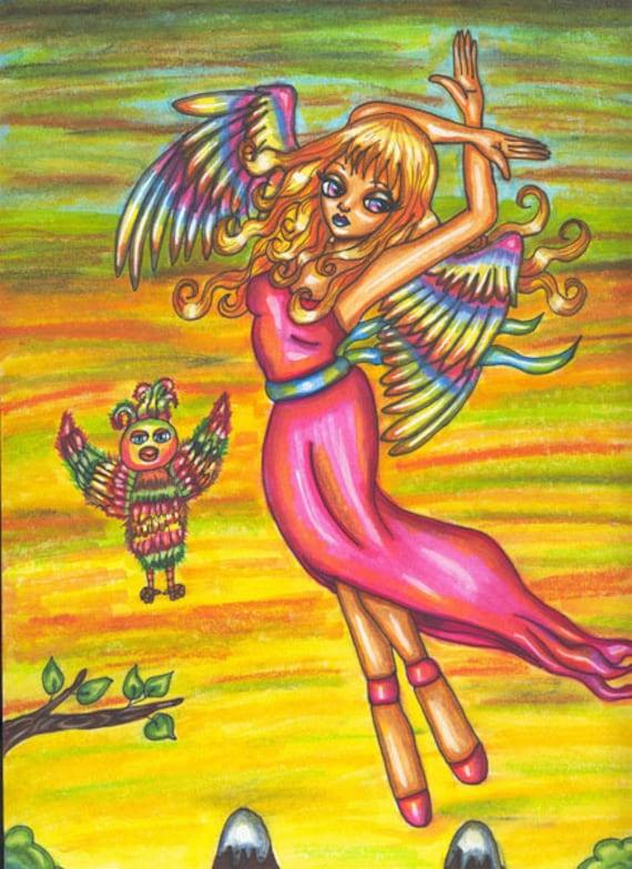 Rainbow Sky Dancer Fairy angel original art print modern artwork fantasy folk anime big eye art wall art outsider art