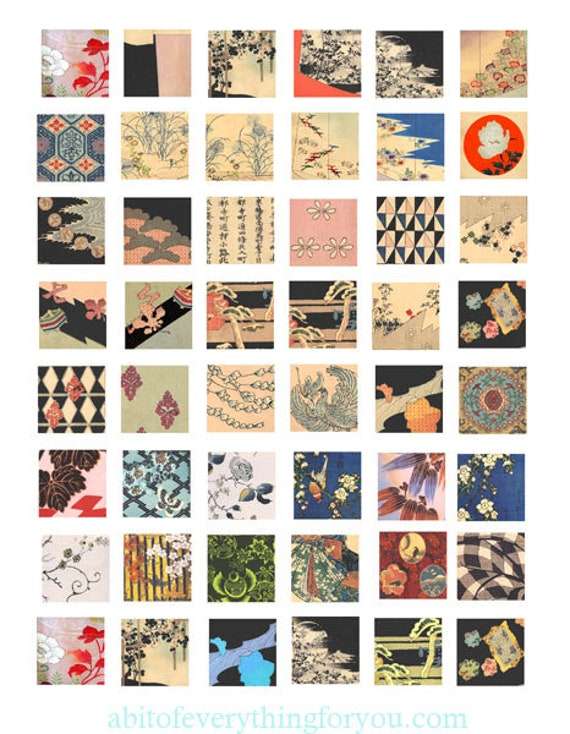 """vintage kimono fabrics textiles collage sheet download printable clipart digital 1"""" inch squares graphics images pendants diy jewelry making"""