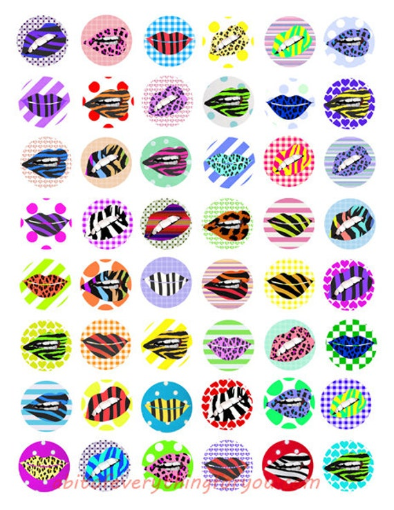 digital downloadable collage sheet lips lipstick makeup printables animal geometric patterns clipart 1 inch circle images DIY jewelry making
