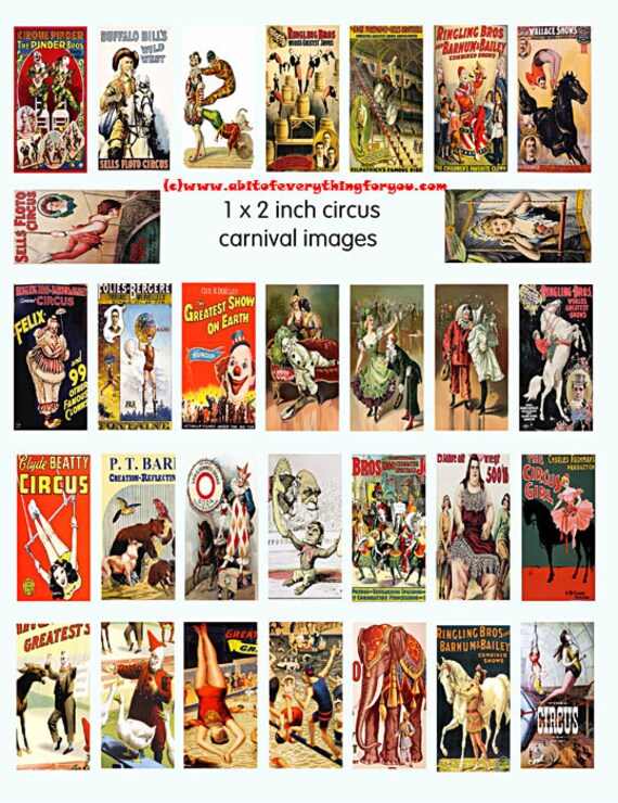 Circus Digital collage sheet domino 1 x 2 inch Vintage Circus printable clown animals images instant download for pendants jewelry