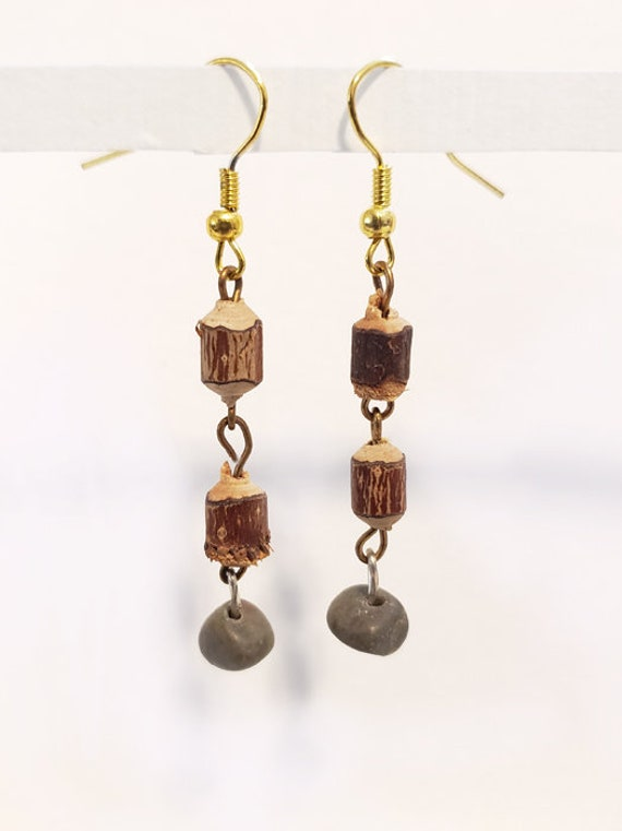 wood tree stump bead drop earrings long dangles wooden beaded boho jewelry handmade