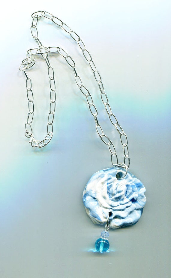 BLUE clay ROSE NECKLACE flower pendant siver chain glass bead drop clay handmade nature jewelry #jewls5020