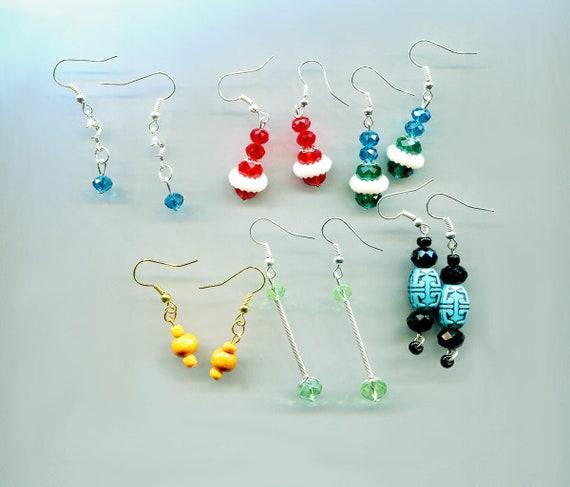 6 pr bead drop dangle earrings lot plastic glass beaded jewelry blue red green wholesale lots