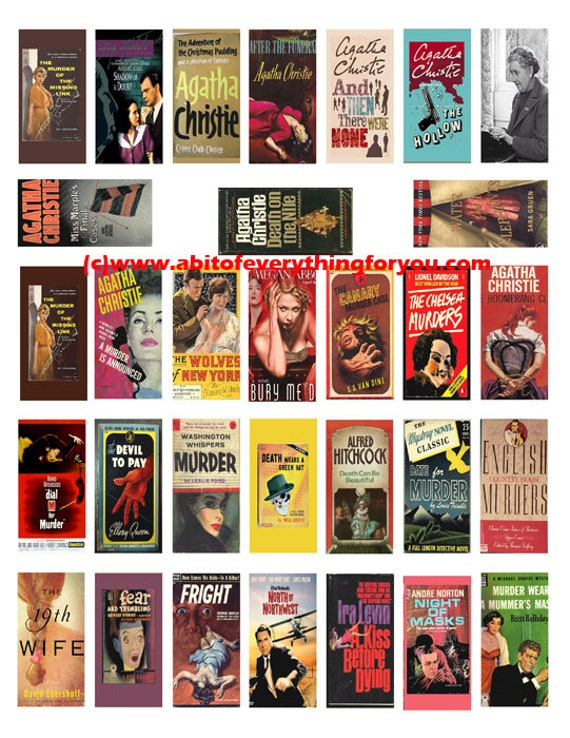 "crime mystery novels vintage books domino collage sheet 1"" x 2"" inch clip art digital download graphics images printables pendants"