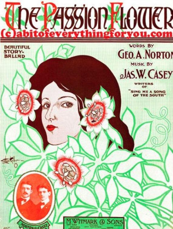 The Passion Flower Vintage sheet Music cover printable art print digital download vintage image graphics DIY crafts home decor
