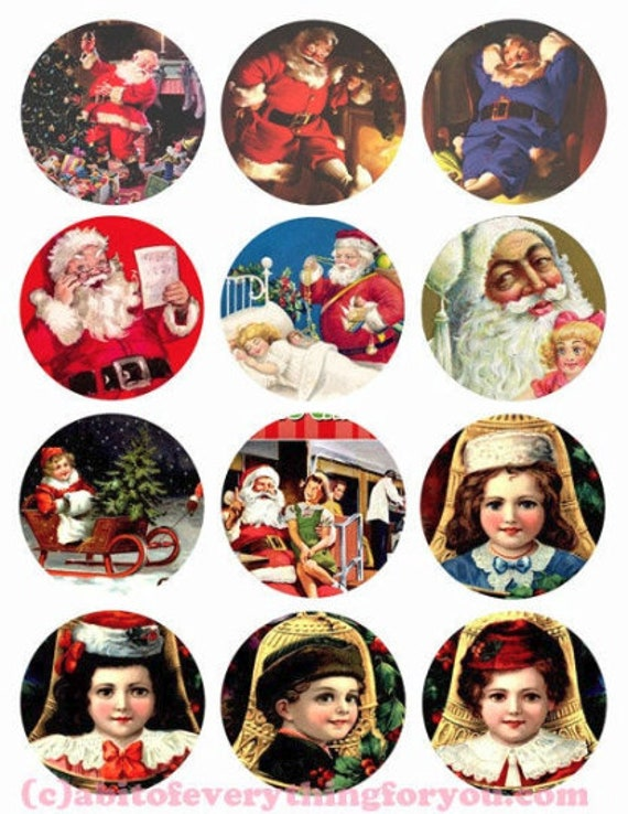 vintage santa christmas collage sheet clipart digital download 2.5 inch inch circles graphics images printables diy jewelry making ornaments