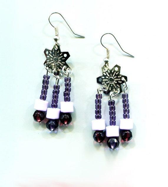 purple chandelier earrings dangles silver snowflake glass bead handmade jewelry