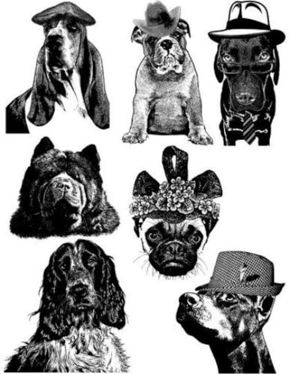 dog breeds collage art printable digital download illustrations die cuts animals pets digital stamps black and white artwork downloadable