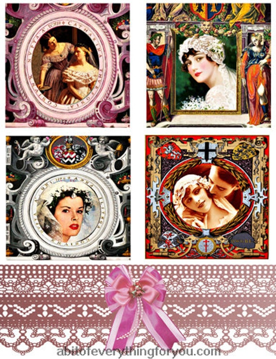 wedding brides marriage woman faces collage sheet 3.8 inch quares clipart digital download images downloadable vintage art