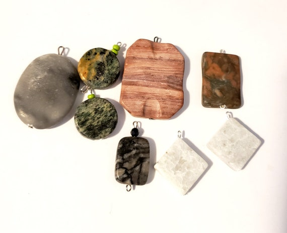 stone bead drop pendants mixed lot gemstone 8 assorted bead charms natural marble beads