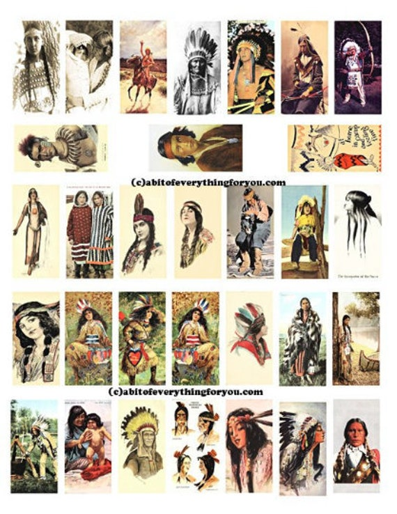 "vintage native american indian men women children art domino collage sheet digital download 1"" x 2"" postcard graphics images printables"