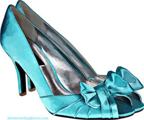 womans blue bow high heels shoe printable art clipart png jpg downloadable digital download image fashion graphics art prints